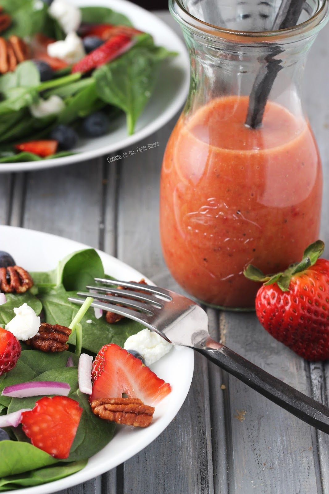 Strawberry Spinach Salad With Strawberry Vinaigrette Dressing Recipe Spinach Strawberry Salad Spinach Salad Strawberry Vinaigrette
