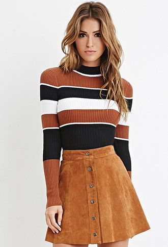 7c9a49301529d Mock Neck Striped Sweater | Forever 21 - 2000147062 | Clothing in ...