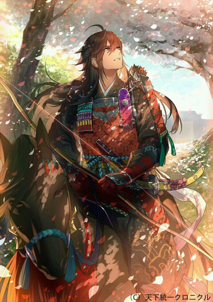 Anime Boy With Long Brown Hair He Ride A Horse Samurai Anime Anime Guys Anime Characters