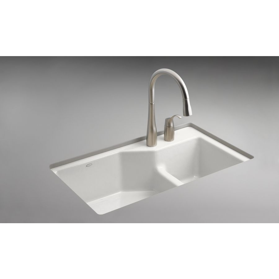 Shop Kohler Indio 21 125 In X 33 In White Double Basin Cast Iron