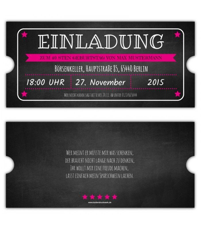 Vintage Einladungskarte Ticket Eintrittskarten Gestalten Einladung Party 40.