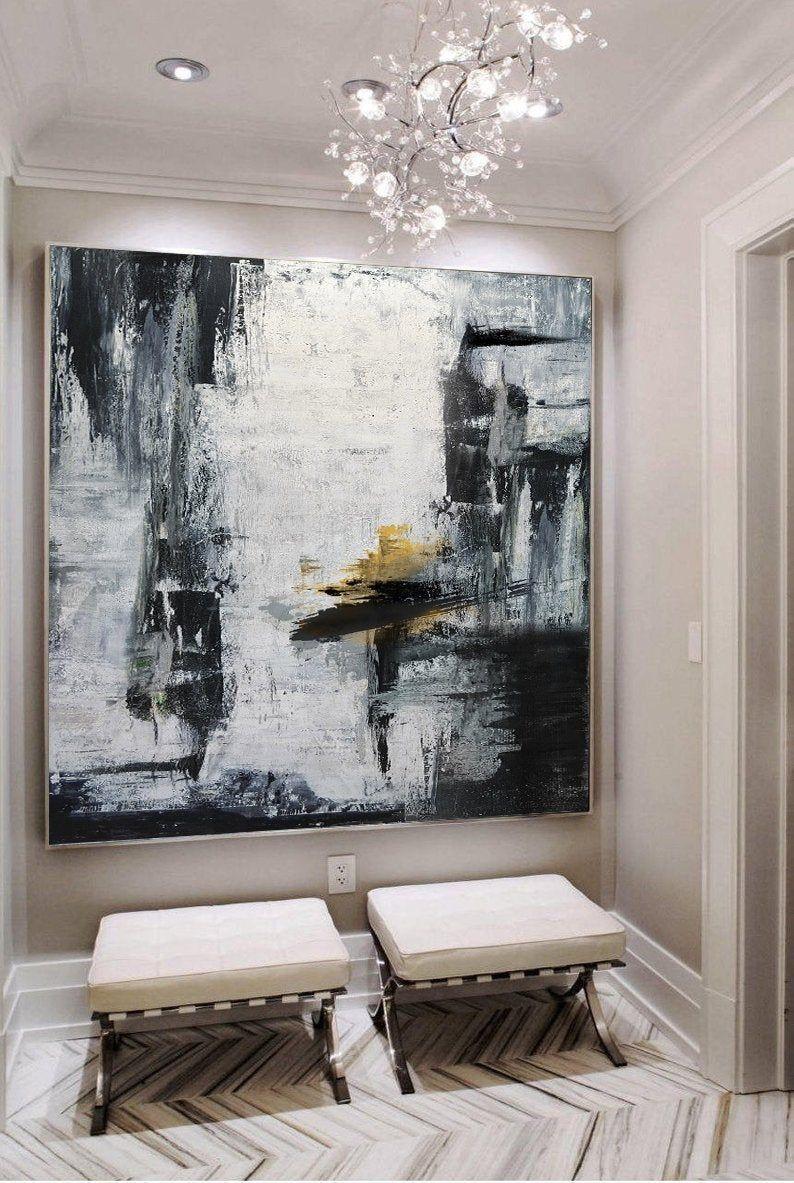 Gold Canvas Artblack White Paintinglarge Abstract Painting Etsy Handmade Wall Art Cityscape Art Large Canvas Art