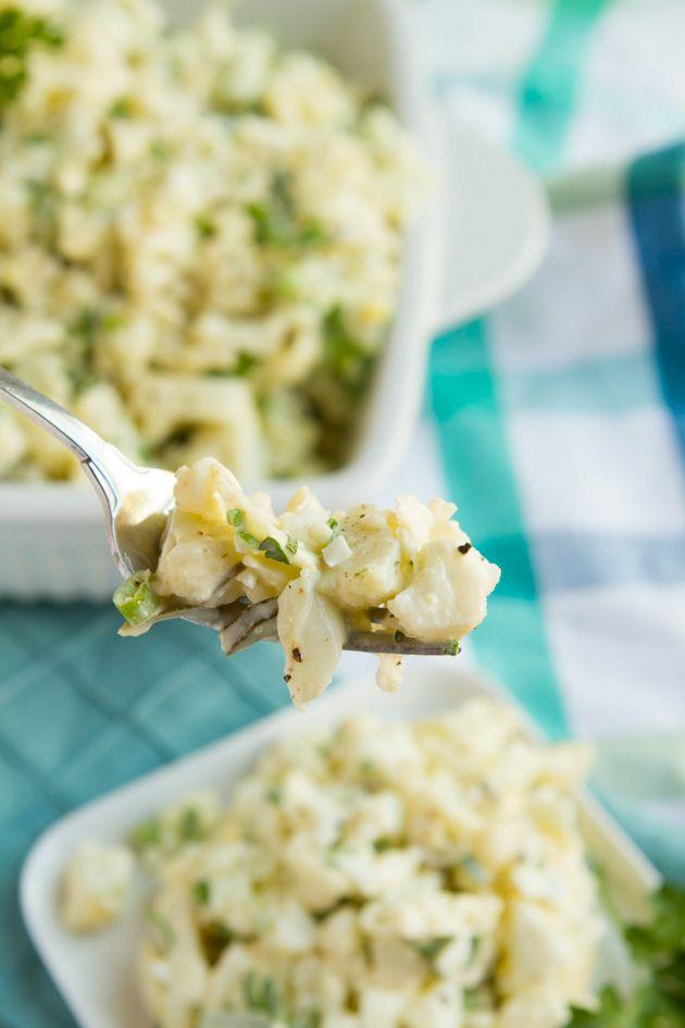 """Potato"" Salad… [Cauli, Eggs] - Net Carbs: 8.7 g per serving  #paleo #lowcarb #keto #vegan #hflc #lchf #eggfree"