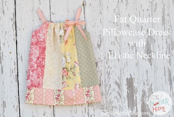 Fat quarter pillowcase dress with #elastic neckline #kids #sewing Originally from Mother Huddle. Super cute & easy for spring /summer!