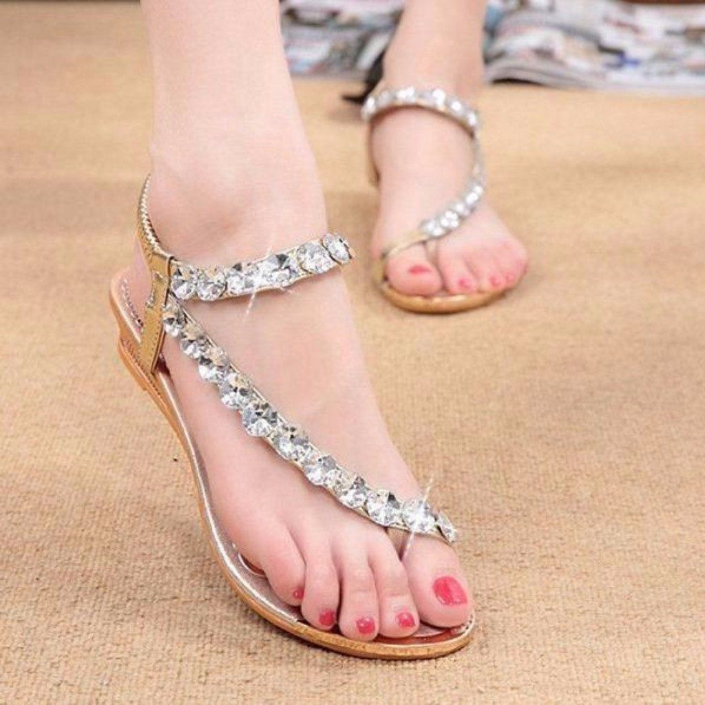 a8a48a5a42d97b Stylish Rhinestone Elastic Women Flat Sandals in 2019