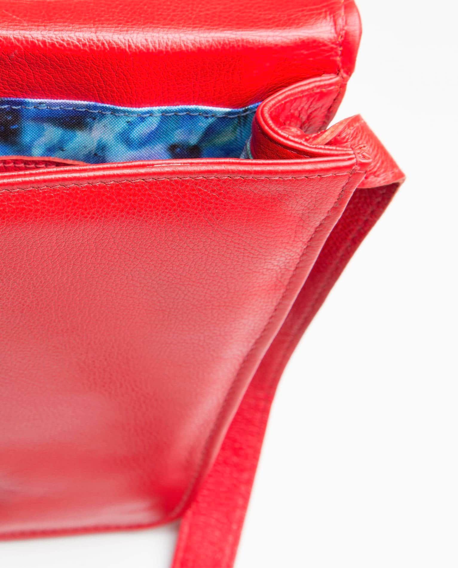 f18802830 Bolsa de couro pequena trapézio Jenny vermelha - LEPRERI - Small leather  handbag red