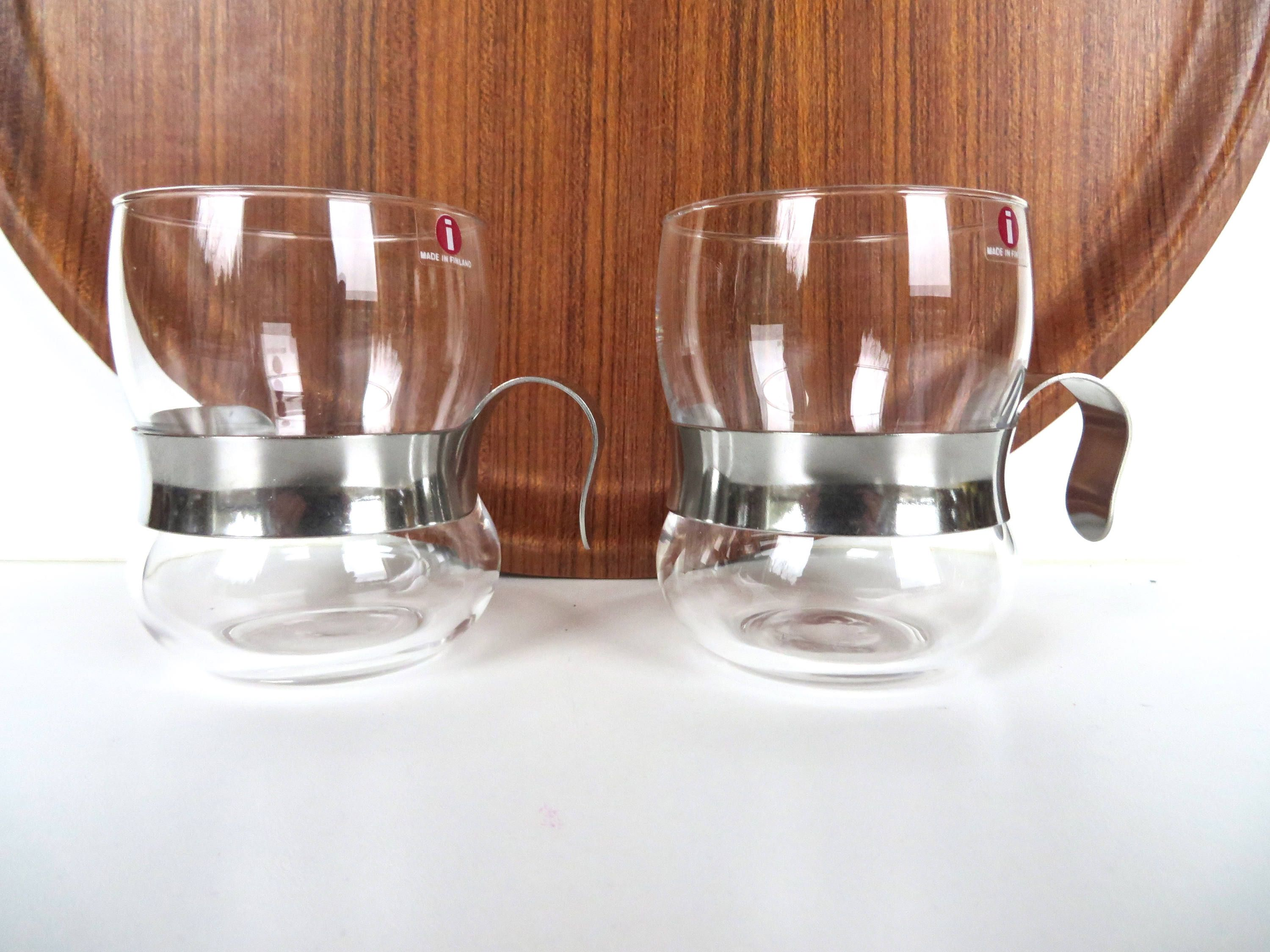 Set Of 2 Iittala Paula Glass And Metal Hot Drink Glasses Tea Cup Design Glasses Drinking Glass