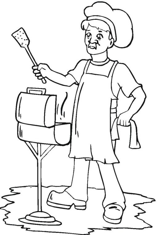 summer grilling   Summer coloring pages, Embroidery ...