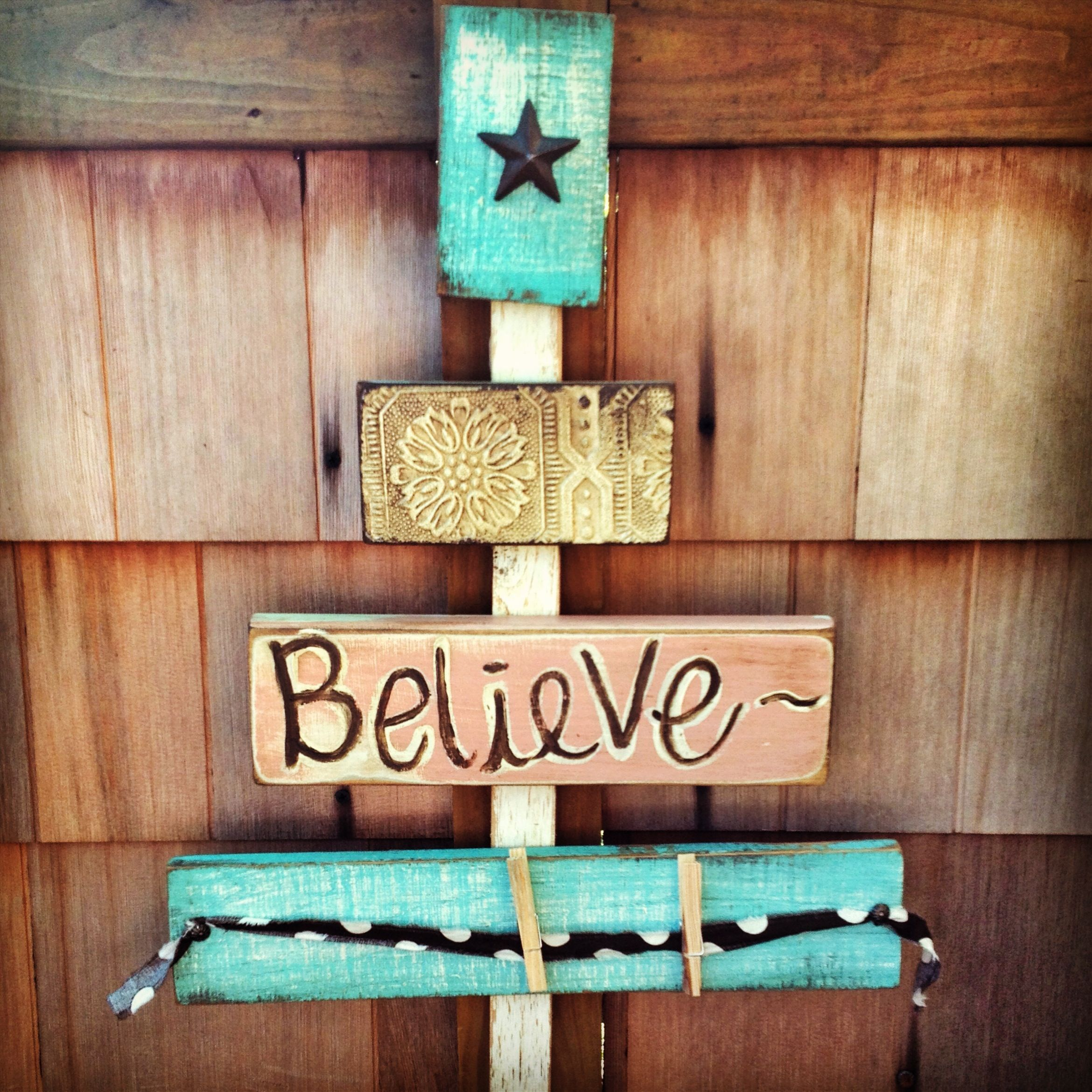 "Believe"" pallet Christmas tree"