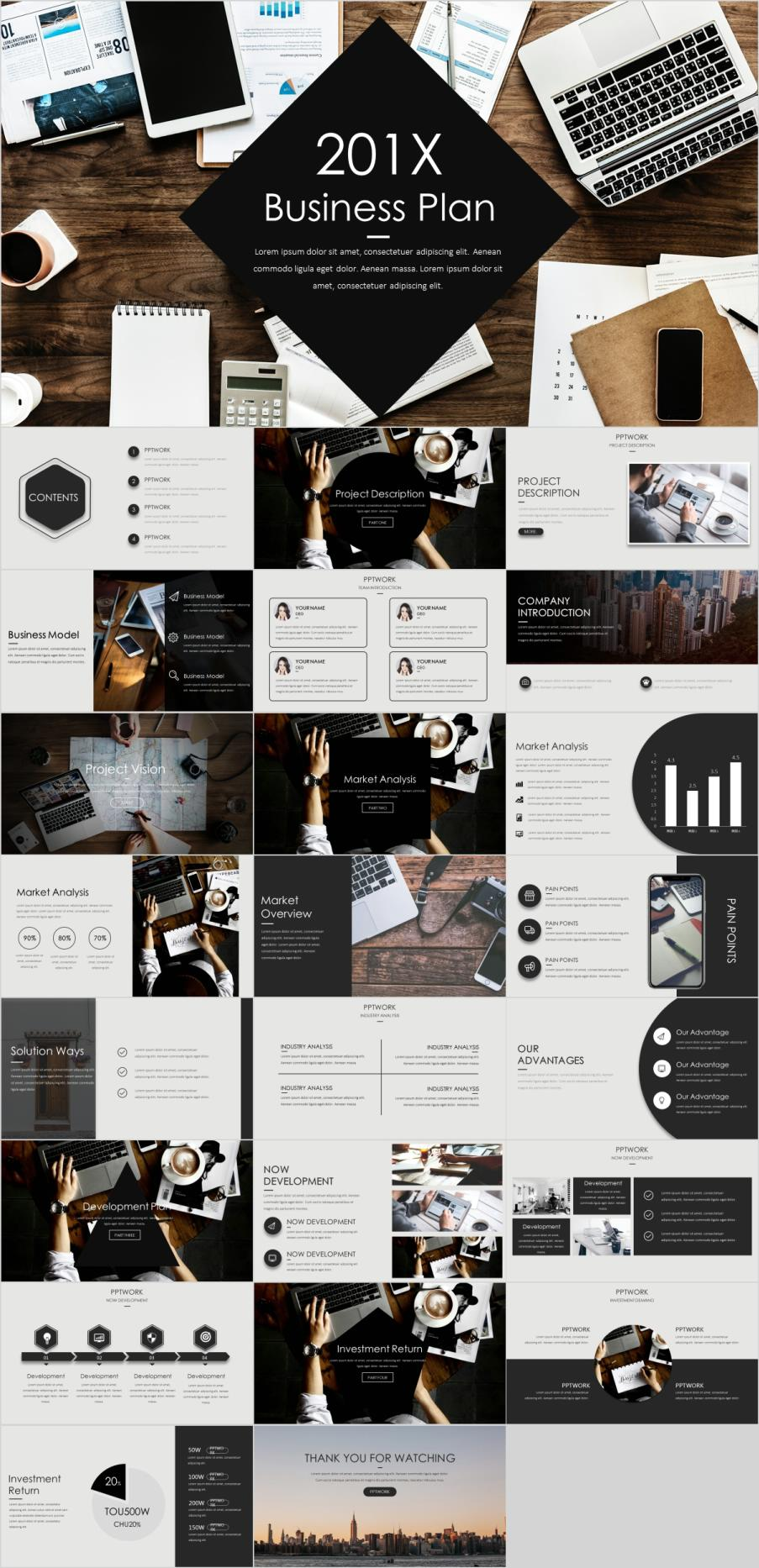 Clean Business Plan presentation template | 2019 best business