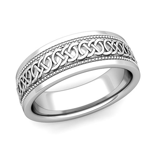 Celtic Knot Wedding Band In Platinum Milgrain Comfort Fit Ring, 7mm. This  Milgrain Celtic