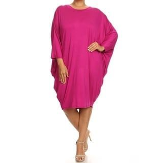 09a5f5ea51ad MOA Collection Women's Plus Size Draped Dress (Magenta (Pink) - 2X)  (spandex)
