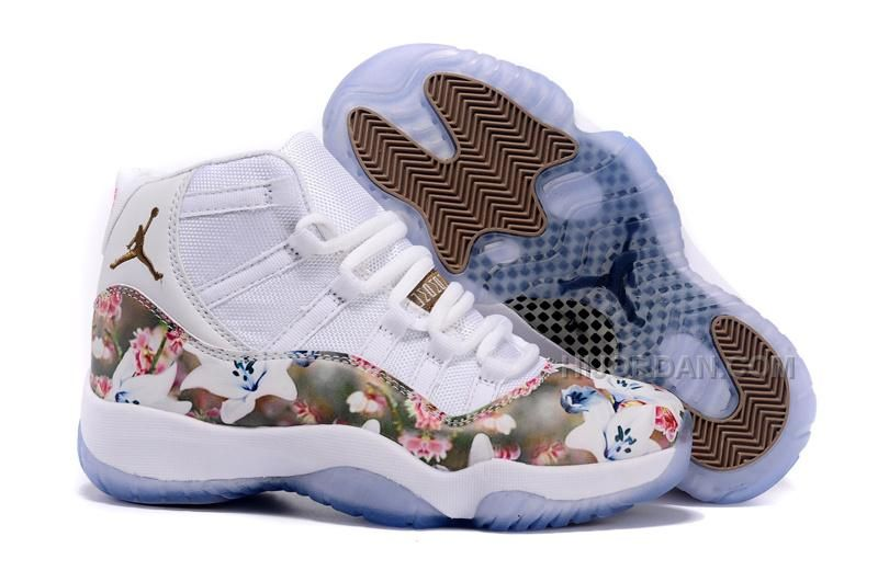 "Girls Air Jordan 11 GS Custom ""Floral Flower"" White Brown Cheap On Sale,  Price: $74.00 - Air Jordan Shoes, Michael Jordan Shoes"