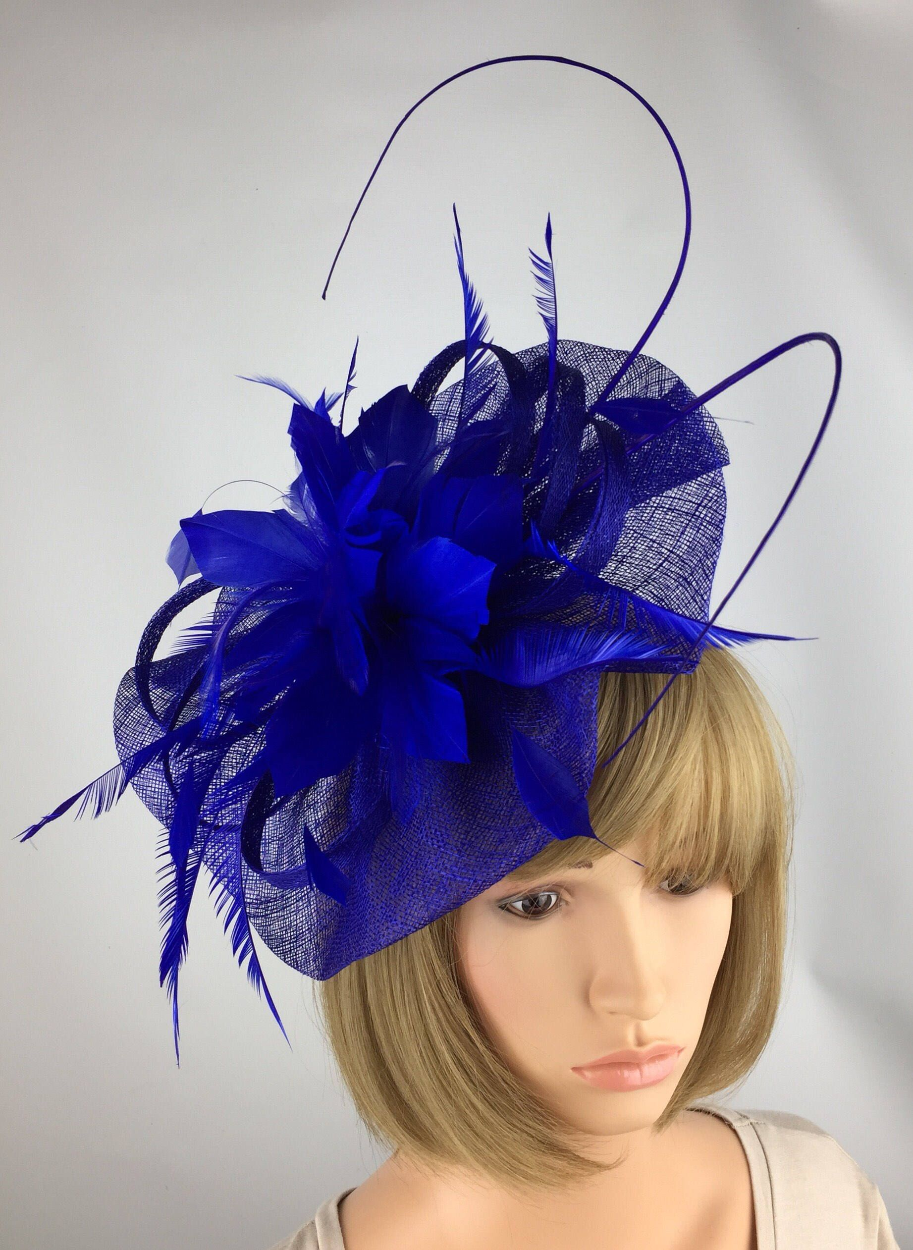Hatinator Cobalt Royal Blue Black Saucer Hat Wedding Formal Disc Fascinator