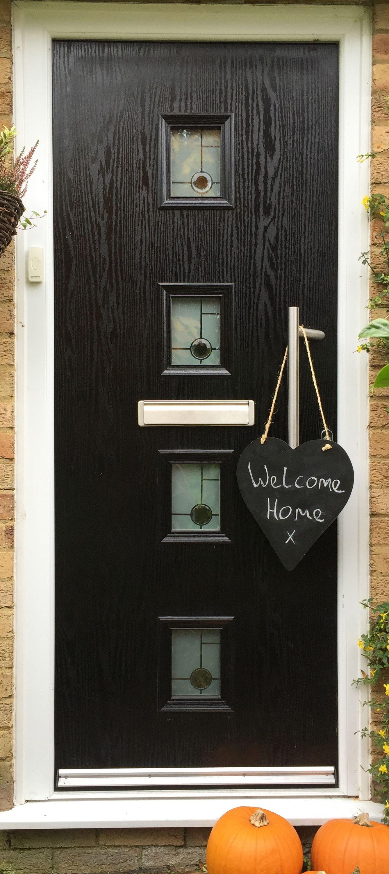 Black Composite Door ready for Halloween! Trick or Treaters will love the warm welcome of an Adoored Composite Door!