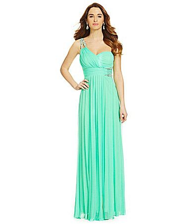 Jodi Kristopher OneShoulder Beaded Trim Dress #Dillards | The ...
