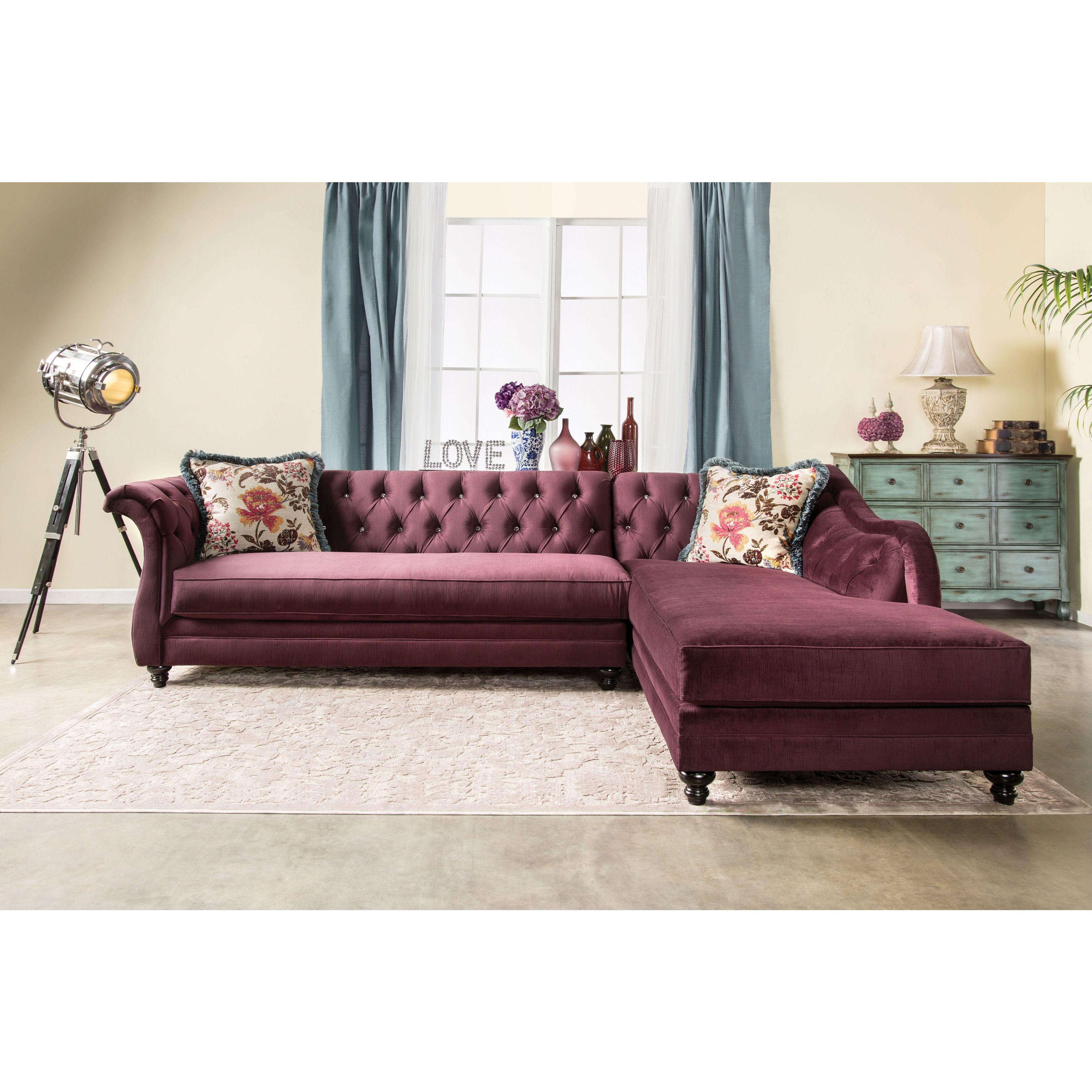 Furniture of America Elegant Aristocrat Tufted Sectional Plum