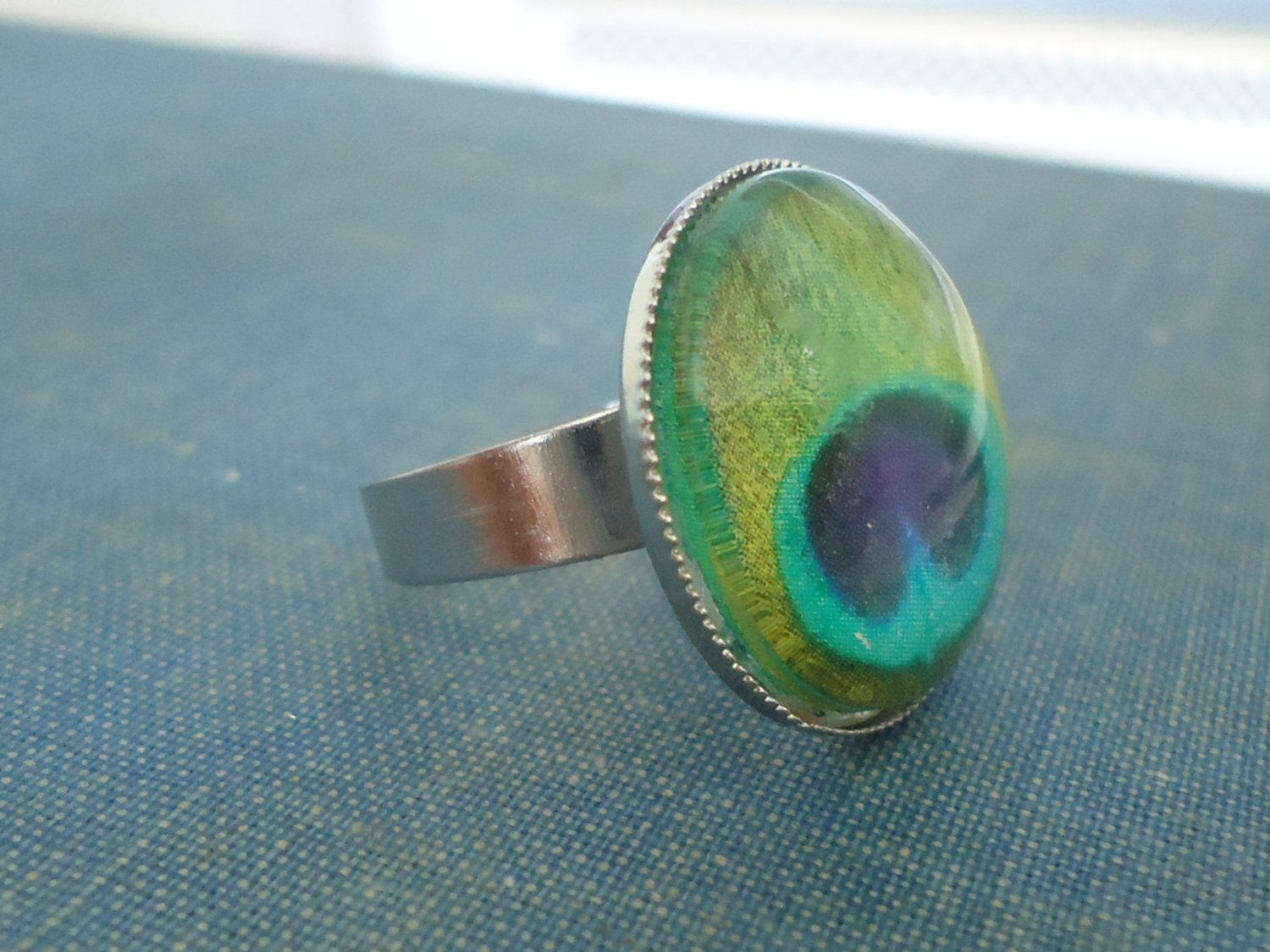 Peacock Feather Statement Ring. $9.00, via Etsy.