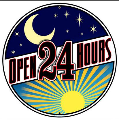 Bay Inn is open 24 hours.