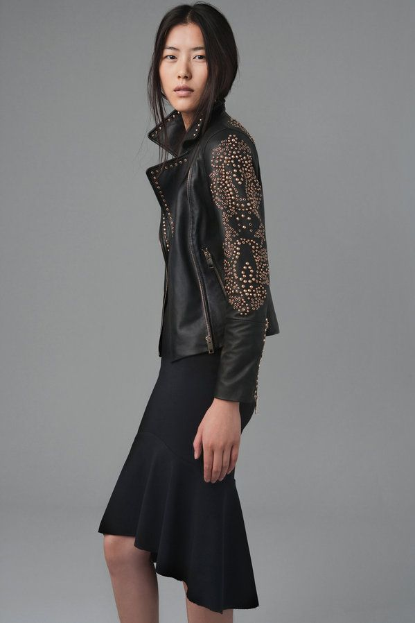 Zara black leather jacket with gold studs