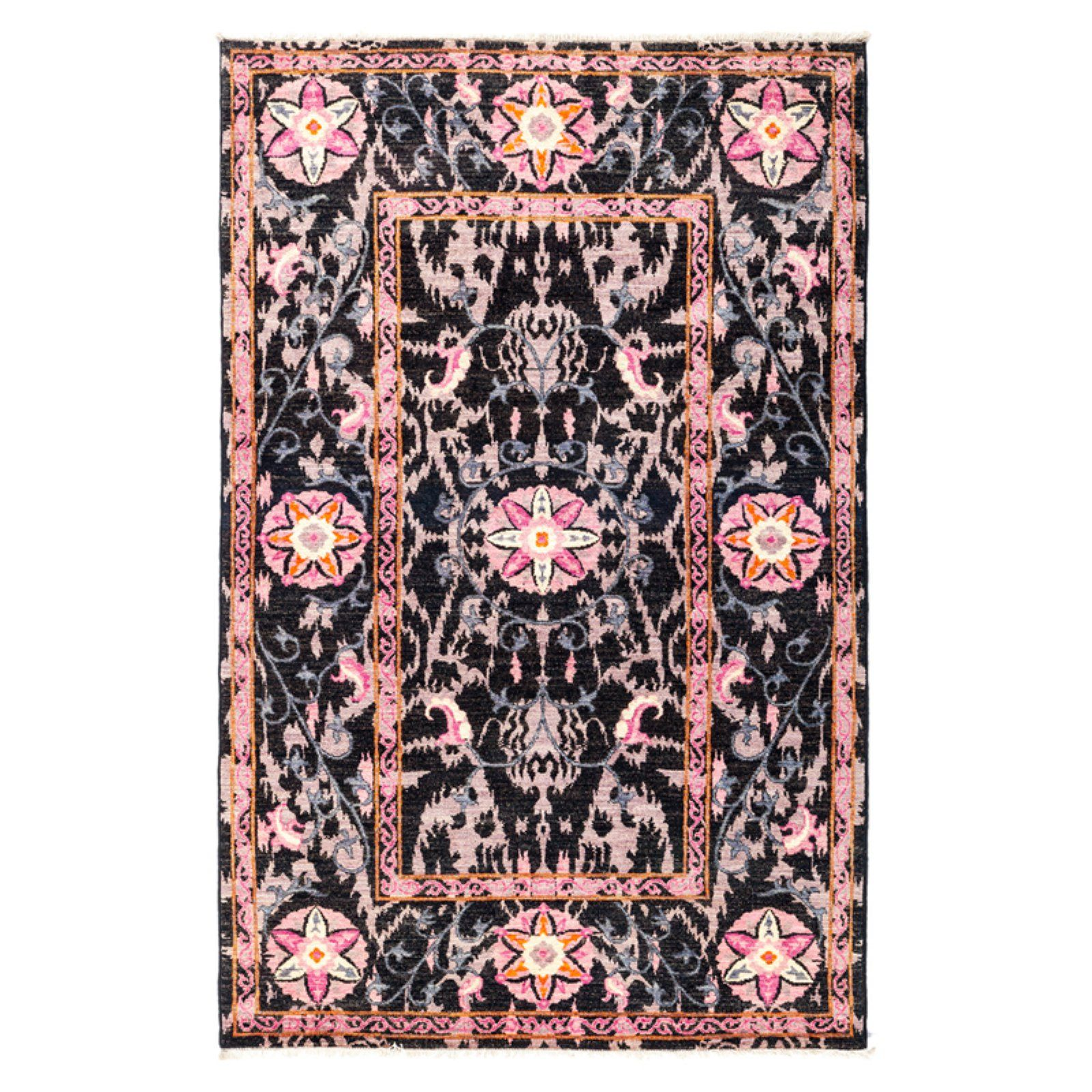 Solo Rugs Mirage Suzani Ii Area Rug Pink And Black Suzani Area