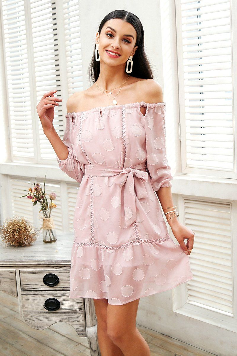 Pink short dress casual  Off Shoulder Dress in   Bride  Pinterest  Dresses Short