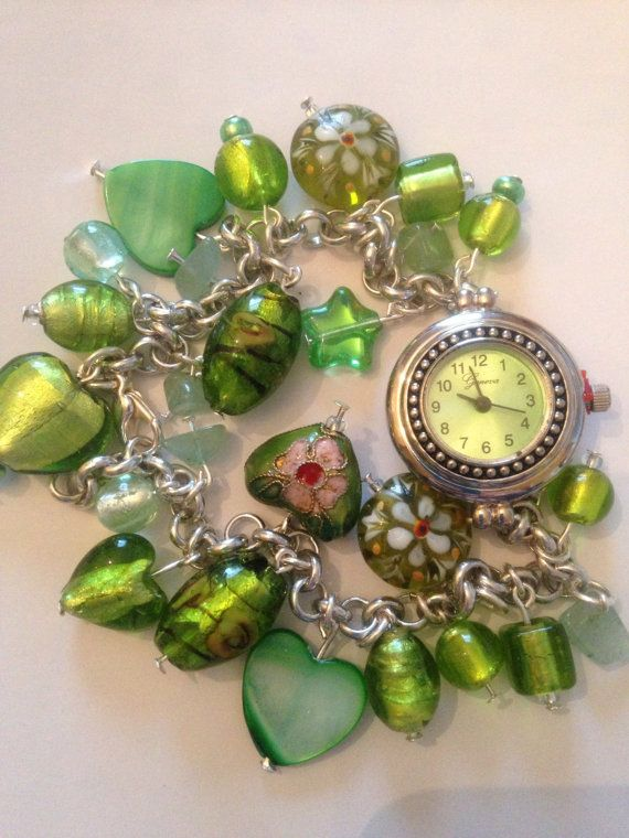 Beaded green watch--Closure almost hidden--Spring clasp that uses one of the links in the chain to attach