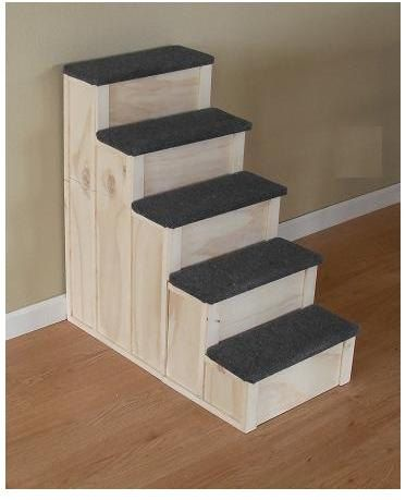 28 Tall 16 Inch Wide Wood 5 Step Dog Or Cat Pet Stairs