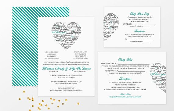 Sample Bilingual Vietnamese Wedding Invitation Set Love Languages Blue Turquoise Flat Card Stock Cardstock