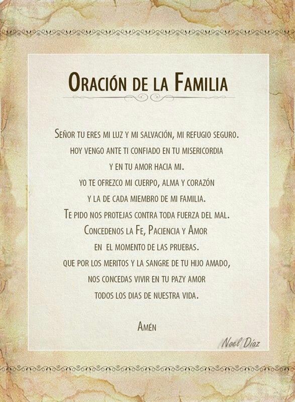 Oración De La Familia Oraciones Oraciones Catolicas Y