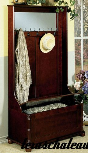 Details About Hall Tree Entryway Coat Hat Rack Full Mirror