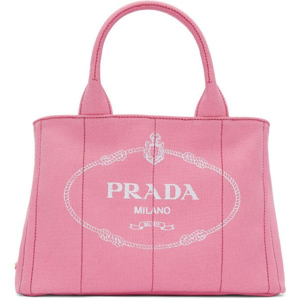 Prada Pink Small Gardener Canvas Tote ( 900) ❤ liked on Polyvore featuring  bags ccffeb83034f3