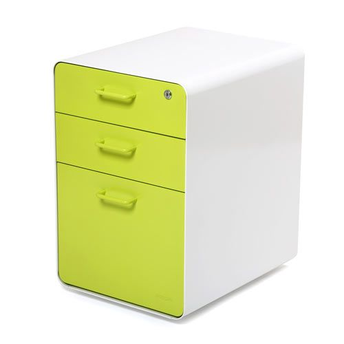 modern file cabinets 3 drawer option green color | office space