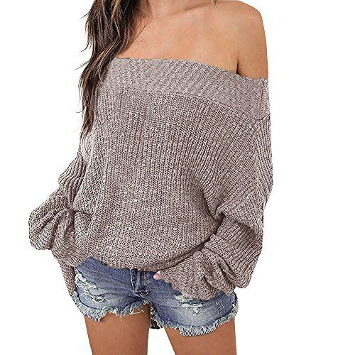 VOIANLIMO Women s Off Shoulder Knit Jumper long Sleeve Pullover Baggy Solid  Sweater Black M at Amazon Women s Clothing store  6f6da2ce8