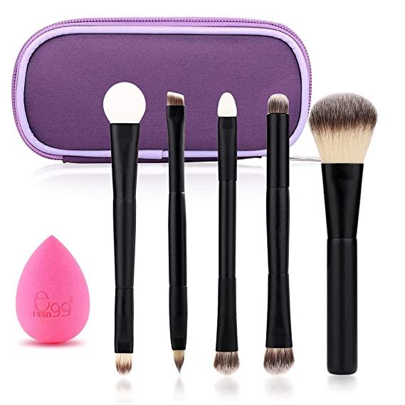 Black Egg Portable Travel Makeup Brush Set