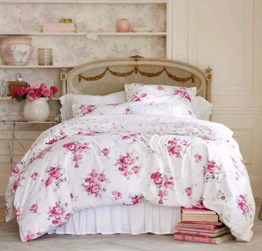 Simply Shabby Chic Sunbleached Pink Floral Full Queen 3pc Duvet Cover Set Shabby Chic Girl Room Shabby Chic Sheets Chic Bedding