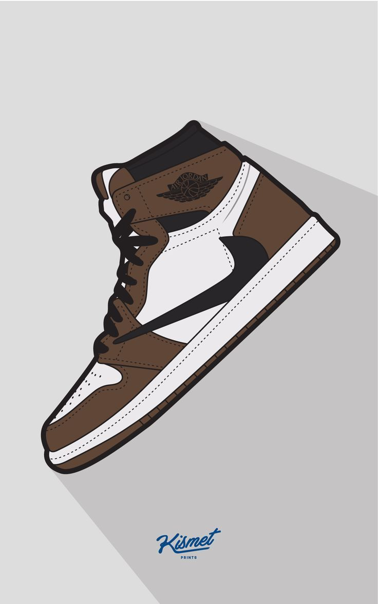 Travis Scott X Air Jordan 1 Cactus Jack Digital Print Supreme Streetwear Nike Sneaker Head Yeezy Print Gift For Him Home Decor Jordan Sneakers Wallpaper Shoes Wallpaper Sneakers Illustration