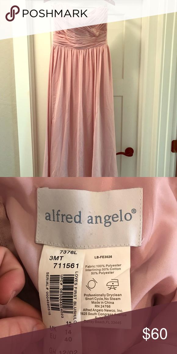 Alfred Angelo bridesmaid dress Strapless, loves first blush (blush pink), floor length dress. Bought used and never worn, might have been hemmed a bit before me. It seems a little shorter than the dress I ended up wearing. Alfred Angelo Dresses Wedding