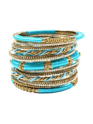 One word: bangles!! Add a white linen blouse and you're set! Amrita Singh Set Of 15 Rupal Silk Wrapped Bangle Set