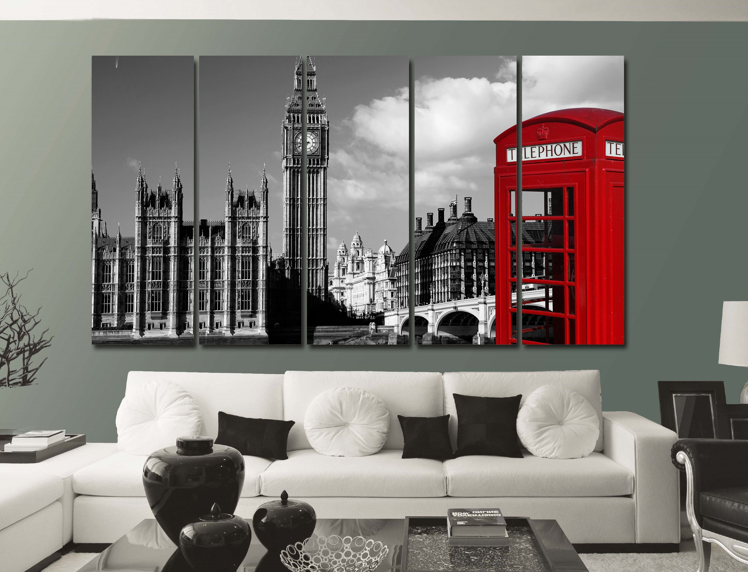 England Printed Canvas London Canvas Retro Red Phone Booth Etsy London Home Decor White Wall Decor White Canvas Art