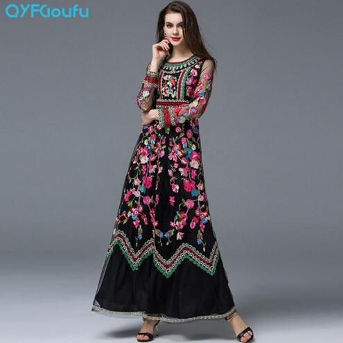 Retro Classy Women's Tulle Floral Embroidered Long Dress Runway Clothing  Maxi Dresses Black White Long Sleeve
