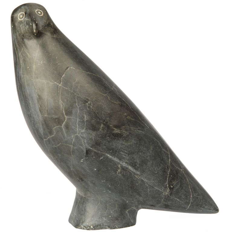 Large inuit northwest coast stone carving of a bird