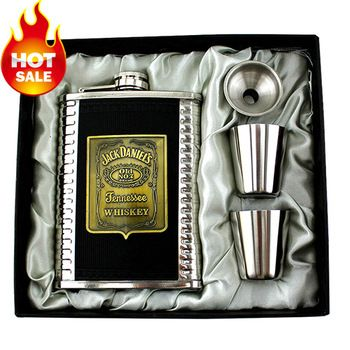 Whiskey Hip Flask 8oz set,Jack Daniels Vintage Portable Stainless Steel Flagon Wine Bottle Gift Box Pocket Flask Russian Flagon
