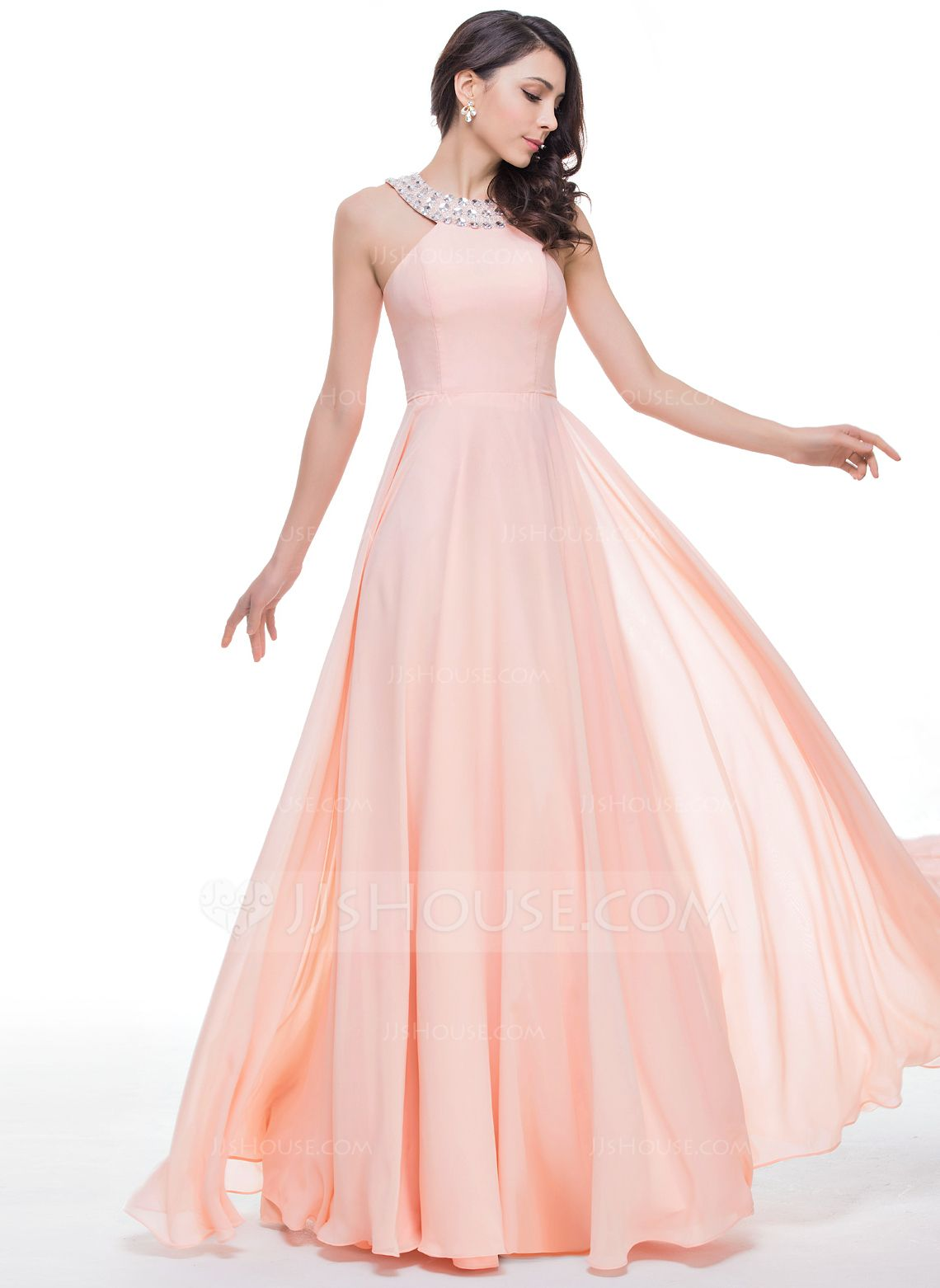 A-Line/Princess Scoop Neck Floor-Length Chiffon Prom Dress With ...