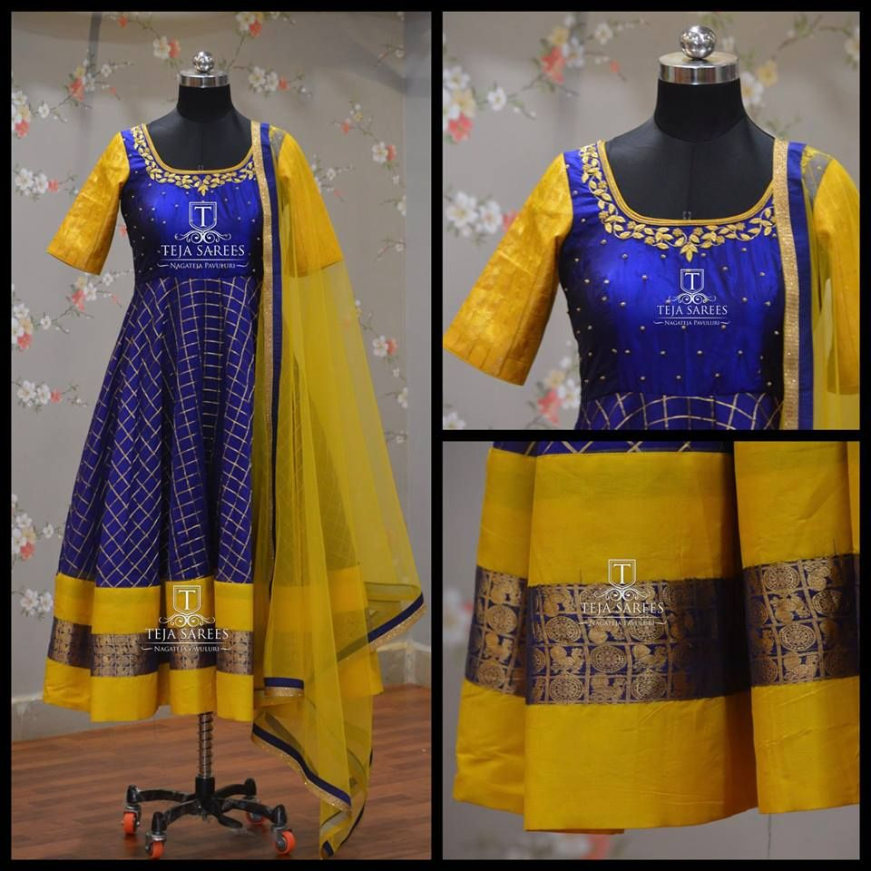 S Ds 594 Sold Stunning Blue And Yellow Color Combination Knee Length Ananrkali Dress With Hand Embroidery Indian Gowns Dresses Long Dress Design Indian Gowns [ 960 x 960 Pixel ]