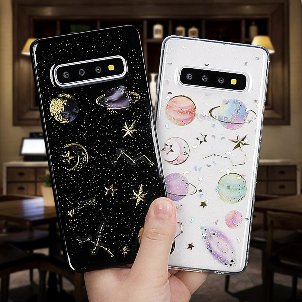 Glitter Planet Stars Case For Samsung A50 A60 S10 S9 Plus Note 9 10 Pro A7 A8 A9 2018 Full Body Soft Phone Back Cover