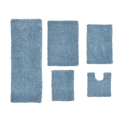 Charlton Home Hazley 5 Piece Bath Rug Set Colour Blue Rugs