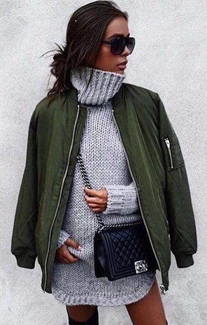 efdacd6d25  winter  outfits   Grey Turtleneck Knit    Green Jacket    Black Chanel  Leather Bag