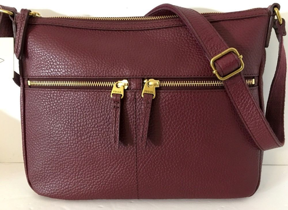 NEW FOSSIL Elise Large Crossbody Shoulder Bag Cabernet Genuine Pebbled  Leather  Fossil  Crossbody f820eaa097cb9