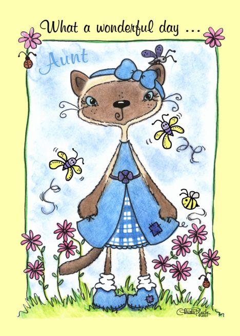 Happy Birthday to Aunt-Siamese Cat in the Garden card ...